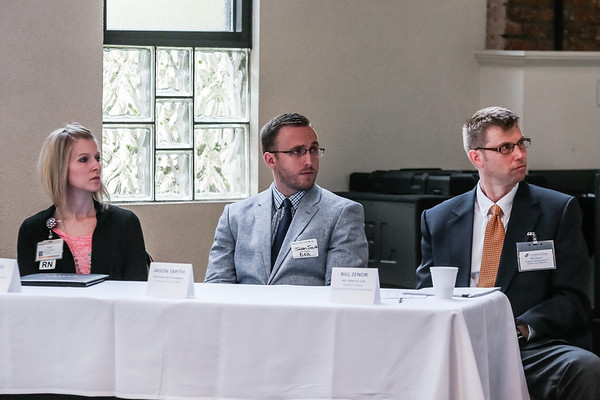From left, Paige Ross BSN-RN, Jason Smith, of the Louisville District DEA Office, Bill Zenor MS, CADAC IV, LCAC listen to Dr. Lawrence Schoch M.D. speak at a Medication Assisted Treatment panel at Kye's on Thursday. Staff Photo By Josh Hicks