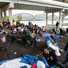 The Kennedy Bridge provided shelter for those without a tent. Staff Photo By Josh Hicks