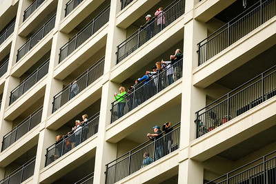 People on balconies at The Harbours in Jeffersonville got an elevated view of Thunder on Saturday. Staff Photo By Josh Hicks