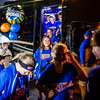 The Floyds Knobs Little League Softball team steps off their bus at 9:18 p.m. on Thursday after their 10-day World Series, where the team finished tied for 3rd place.