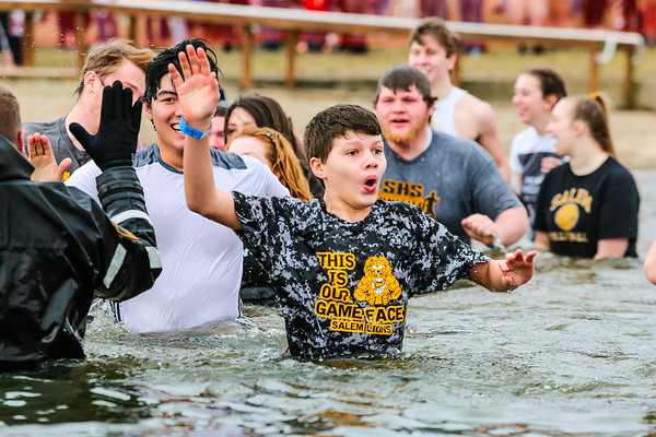 "Salem High School took the plunge as the ""Arctic Lions"" during the daring Special Olympic event at Deam Lake in Borden on Saturday. Staff Photo By Josh Hicks"