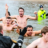 Members of Indiana University Southeast's fraternity Kappa Sigma all went shirtless for the Special Olympic Polar Plunge at Deam Lake in Borden on Saturday. Staff Photo By Josh Hicks