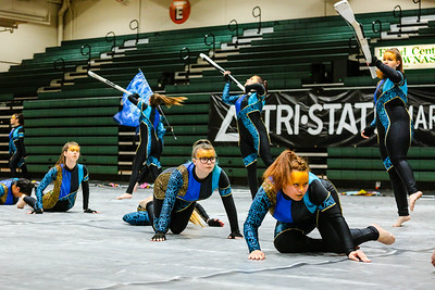 Jeffersonville's Winter Color Guard prowls the floor of Floyd Central High School's gymnasium during the Tri-State competition on Saturday. Staff Photo By Josh Hicks