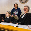 """Please be seated,"" orders a robed Jena Riekof, 5, after emerging from Judge Vicki Carmichael's chambers at the Clark County Government Building on Saturday. Staff Photo By Josh Hicks"
