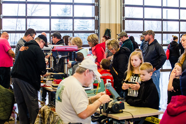 Approximately 50 to 60 cub scouts and their parents made their way to the Clarksville Fire Department on Saturday to complete their Pinewood Derby race cars on Saturday. Staff Photo By Josh Hicks
