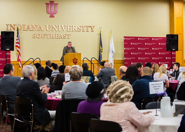 Chancellor Dr. Ray Wallace speaks at the NAACP Freedom Fund Breaksfast at Indiana University Southeast on Saturday. The New Albany-Floyd County branch of the NAACP hosted the meal to honor Dr. Martin Luther King Jr. Staff Photo By Josh Hicks