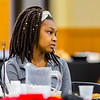 Ashia Car, freshman, listens to Rev. Corrie Shull during the NAACP Freedom Fun Breakfast at Indiana University Southeast on Saturday. Staff Photo By Josh Hicks