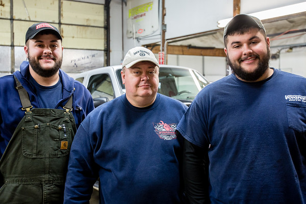 (left to right) Jake, Tim and Josh Harbin make up the Jeffersonville-based, family-owned mechanic and snow plow business called Voignier's. Staff Photo By Josh Hicks