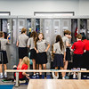 Middle Schoolers rush to their lockers during their first day at St. Mary of the Knobs on Thursday. Staff Photos By Josh Hicks