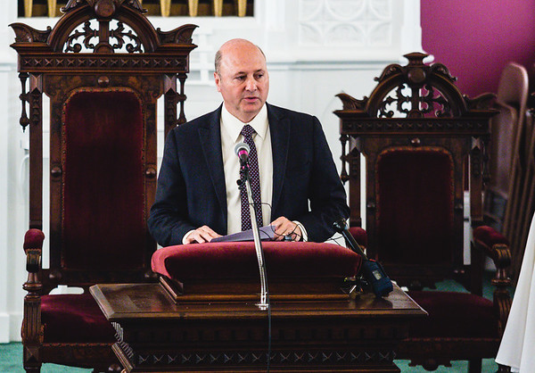 Mayor Jeff Gahan speaks during Second Baptist's designation ceremony on Wednesday.