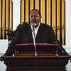 The Rev. LeRoy V. Marshall Jr., the pastor at Second Baptist in New Albany, delivers a speech during the church's designation ceremony.