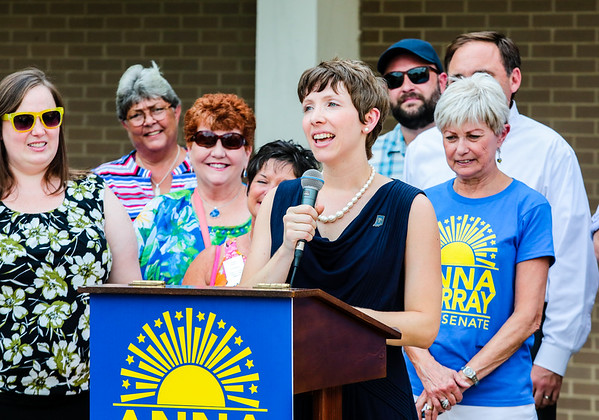 Lawyer and business owner Anna Murray announces her state senate candidacy for the 46th district in the 2018 election in front of the Clark County Courthouse on Thursday. Murray is the first democrat to make the announcement. Staff Photo By Josh Hicks