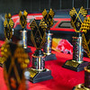 Trophies are lined up on a table at Southern Indiana RC Speedway on Saturday.