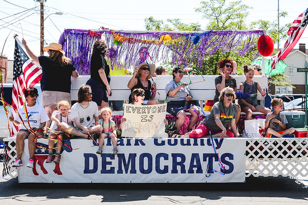 The Clark County Democrats roll by on their float during the Jeffersonville Pride Parade on Saturday. Staff Photo By Josh Hicks