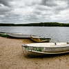 Rental boats line Deam Lake's beach.