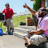Daniel Nowlin gives a thumbs up to the announcer, declaring that his headset is displaying the video feed from his drone during the drone flying competition at the New Albany amphitheater on Saturday. Staff Photo By Josh Hicks