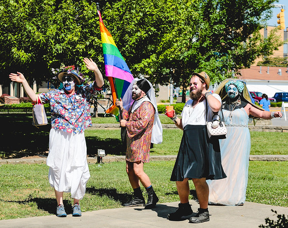 The Derby City Sisters take to the dance area during the Jeffersonville Pride Festival in Warder Park on Saturday. Staff Photo By Josh Hicks