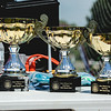 The first, second and third trophies wait to be awarded at the drone flying competition at the New Albany amphitheater on Saturday. Staff Photo By Josh Hicks