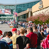 The line to get into the Kentucky Expo Center for President Donald Trump's rally creeps forward. Staff Photo By Josh Hicks