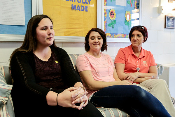 Day care director Jenna Endres talks about Alayna James' bright spirit at Safe Harbor Community Church on Thursday. Staff Photo By Josh Hicks