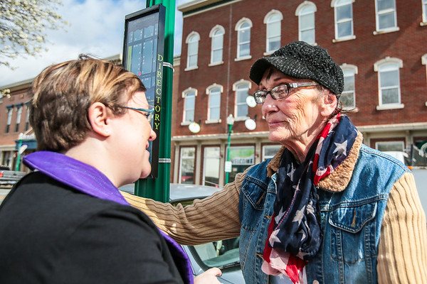 "Judy Hulletta thanks Reverend Danyelle Ditmere after receiving her ""Ashes to Go"" in Jeffersonville on Ash Wednesday. Staff Photo By Josh Hicks"