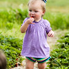 Piper Rothbauer, 1, takes a bite of a strawberry at Huber's Orchard & Winery on Saturday. Staff Photo By Josh Hicks