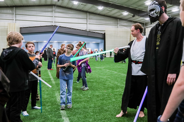 Sam Conver leads Jedi combat training during May the 4th Be With You on Thursday. Conver is the founder of the Louisville Jedi Academy. Staff Photo By Josh Hicks