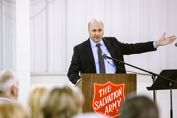 New Albany Mayor Jeff Gahan  Welcomes attendees to the National Day of Prayer Observance at the Salvation Army on Wednesday. Staff Photo By Josh Hicks