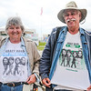 Holly Kering, left, and Dan Knorowski are veteran Abbey Road festival attendees. Here they are flaunting Abbey Road At the Races shirts during the opening day of Abbey on the River at Big Four Station. Staff Photo By Josh Hicks