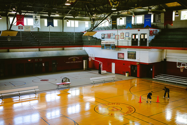 The Nachand Field House in Jeffersonville has carpet and hardwood basketball courts. Staff Photo By Josh Hicks