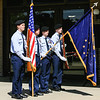 The Jeffersonville Air Force JROTC presents the United States and Indiana flags during the Memorial Day service at  the Clark County Government Building on Monday. Staff Photo by Josh Hicks