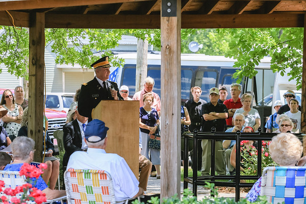 Col. Carl Truman speaks during the Sellersburg Memorial Day service at Wilkerson Park on Monday. Staff Photo By Josh Hicks