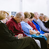 Rows of attendees bow their heads in prayer at the Salvation Army in New Albany in celebration of National Day of Prayer on Wednesday. Staff Photo By Josh Hicks