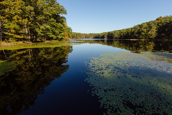 Schlamm Lake welcomes guests to the Department of Natural Resources new headquarters in Clark State Forest. The scenic lake also features a boat ramp for fishing.