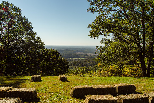 Hay bale benches set up at Clark State Forest give visitors a good view over Southern Indiana.