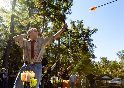 Star Rank Boy Scout and Senior Patrol Leader Gabe Powell, 15, from Henryville's Troop 4041 fires an arrow at a flying target at Clark State Forest.