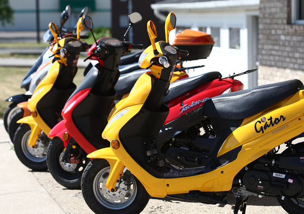 6-12-12<br /> The City of Kokomo has started requiring all scooter or moped owners to have a sticker purchased from the city. Scooters for sale.<br /> <br /> KT photo | Tim Bath