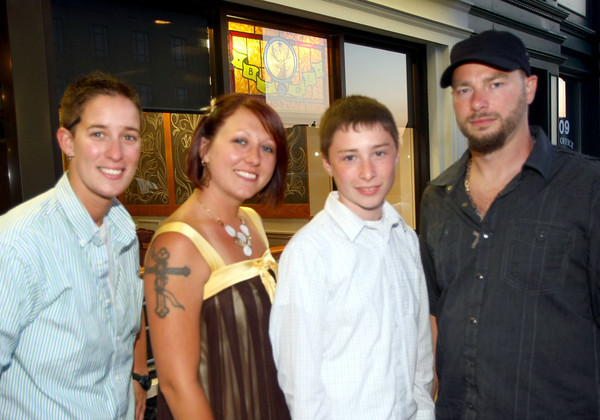 6-2-12<br /> Out and About<br /> Sarah Schwatz, Steffannee Catron, Evan Catron and Ronnie Catron hanging out at the Elks lodge after a wedding.<br /> KT photo | Tim Bath