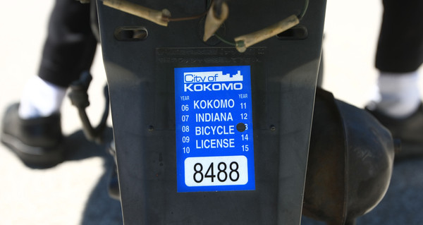 6-12-12<br /> The City of Kokomo has started requiring all scooter or moped owners to have a sticker purchased from the city. <br /> <br /> KT photo | Tim Bath