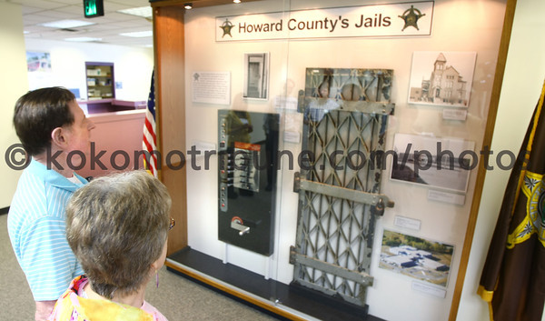 "5-17-12<br /> Retired Sgt Jerry Edwards and his wife Deloris ""Annie"" Edwards view the display of items from the Howard County Jails over the years at the Howard County Sheriff Department.<br /> KT photo 