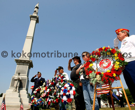 5-28-12<br /> Memorial Day services at Crown Point Cemetery with all the veterans groups from Howard County. Veterangs groups from throughout the county placed wreaths in front of the Soldiers and Sailors monument during the 30 minute ceremony. <br /> KT photo | Tim Bath