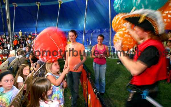 5-17-12<br /> Kelly Miller Circus operating out of the big tent in Future Park.<br /> Madison Shearer, 5, getting a balloon from a pirate.<br /> KT photo | Tim Bath