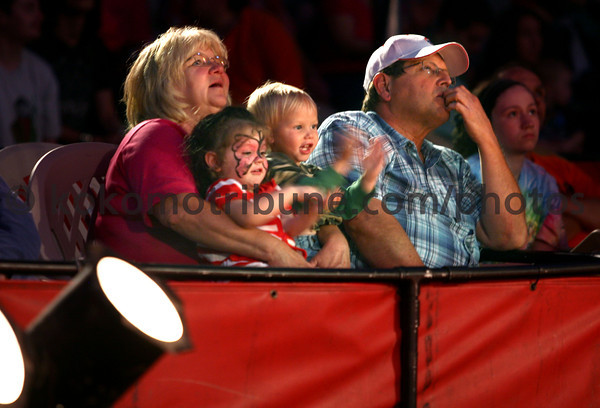 5-17-12<br /> Kelly Miller Circus operating out of the big tent in Future Park.<br /> Grandparents Sherill and David Evans with Alyssa Evans, 2, and cousin Hutch Munsey, 2, watching the circus.<br /> KT photo | Tim Bath