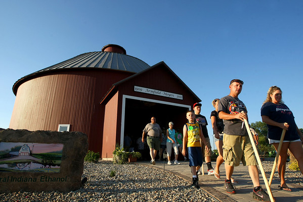 7-11-12<br /> HC Fair rides and food<br /> Poeple with church walking sticks exiting the Round Barn<br /> KT photo | Tim Bath