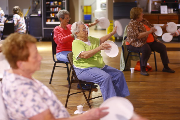 Kay Stough will lead a balance class at the Senior Center, June 2, 2015.<br /> Tim Bath | Kokomo Tribune
