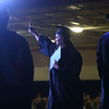 Maria Biddle gives the peace sign as she crosses the stage with her diploma during the Ivy Tech commencement ceremony on Saturday, May 7, 2016.<br /> Kelly Lafferty Gerber | Kokomo Tribune