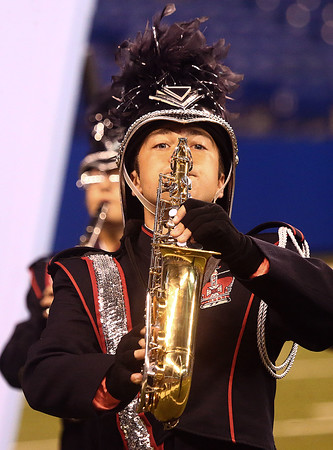 Jameson Price performs with the Lewis Cass Kings in Class C during the State Marching Band Finals at Lucas Oil Stadium on Saturday, October 29, 2016. The Kings received fourth place.<br /> Kelly Lafferty Gerber | Kokomo Tribune
