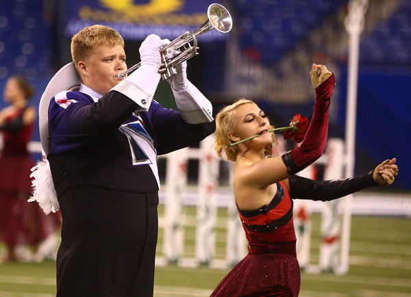 Aaron Stanley (left), on the trumpet, and Abigail Olsen perform with Northwestern High School in Class D of the State Marching Band Finals at Lucas Oil Stadium on Saturday, October 29, 2016. The Tigers placed eighth.<br /> Kelly Lafferty Gerber | Kokomo Tribune