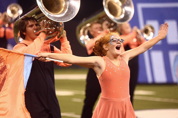 Colorguard member Julie Haworth performs with the Lewis Cass Kings in Class C during the State Marching Band Finals at Lucas Oil Stadium on Saturday, October 29, 2016. The Kings received fourth place.<br /> Kelly Lafferty Gerber | Kokomo Tribune