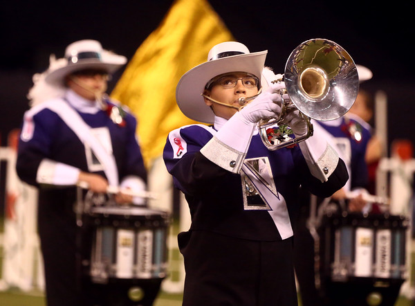 Nathan Trobaugh plays the mellophone as Northwestern High School performs in Class D of the State Marching Band Finals at Lucas Oil Stadium on Saturday, October 29, 2016. The Tigers placed eighth.<br /> Kelly Lafferty Gerber | Kokomo Tribune